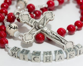 Personalized Baseball First Communion Rosary