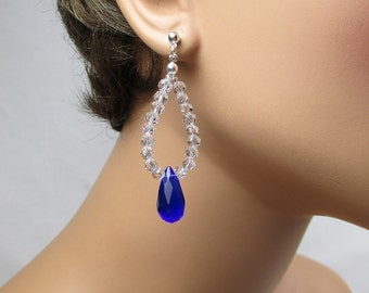 Cobalt Blue Teardrop Earrings Sapphire Blue Double Teardrop Clear Crystals Long Chandelier Dangle