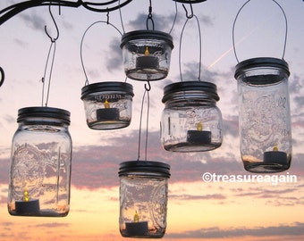 Hanging Wide Mouth Mason Jar Luminary Lantern LIDS. DIY Outdoor Wedding Candle Holders