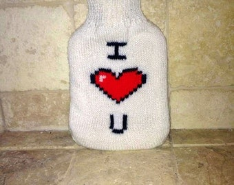 I Love You 8-Bit Hot Water Bottle Cover with heart