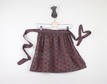 vintage 1950s Bronze + the Blues Half Apron - for baking Cookies & Sweet Treats - with turquoise and indigo and gold, oh my