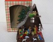 CYBER WEEKEND SALE! Glittered 1960s Plastic Nativity, Original Box