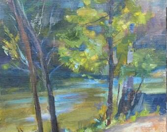 Plein air, Landscape, tree painting, Warner Park, Nashville, Waterscape, River, Creek, Green and purple, Sun light, Original oil