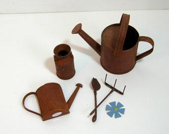 Rusty Watering Cans, Miniature Milk Can, Miniature Garden Tools