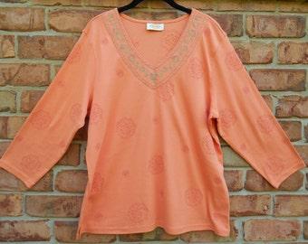 Vintage Orange V Neck Tee with Decorative Stitching Size XL