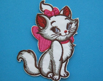 SALE~ Iron-on Embroidered Patch Lovely Marie Cat 3.25 inch