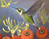 Acrylic Painting - Kitschy Hummingbird