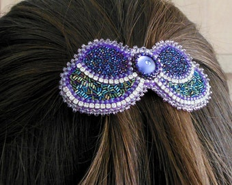 Hairpin Hair Accessories Hair jewelry Barrette Butterfly Green Purple Button Swarovsky Bead Embroidered for girlfriend presents for sister