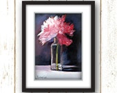 Pink Flower Prints - Unique Wall Art - Floral - Wall Art from Original Oil Painting - Pink Peony - Linen Textured Paper Print