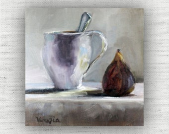 Breakfast Fig - Art Print of Painting - Large Wall Art Print on Wood Block