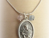 Saint Gerard Patron Saint Pregnancy Childbirth Motherhood Necklace Reversible Our Lady of Perpetual Help