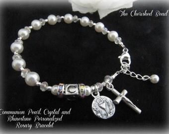 Catholic Communion Personalized Rosary Bracelet with Communion Chalice Charm