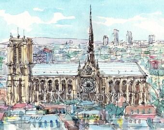 Paris Notre Dame Panorama  art  print  from an original watercolor painting
