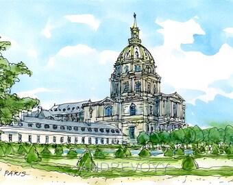 PARIS INVALIDES art print from an original watercolor