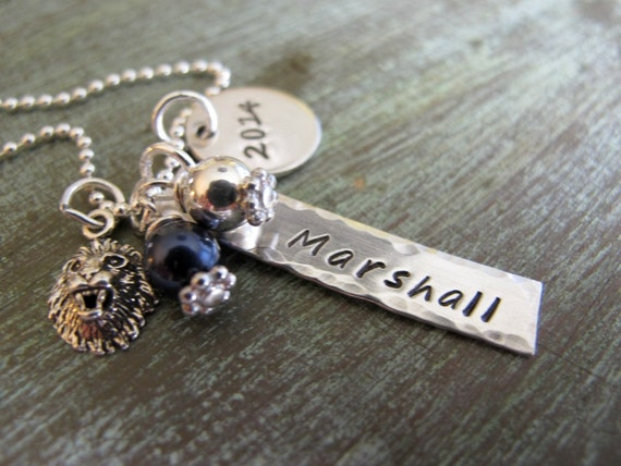 Graduation Jewelry, Personalized, College Grad, Highschool Graduation Gift, Sports Necklace, Hand Stamped, Sterling Silver