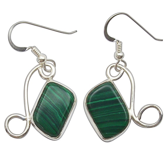 Malachite and Sterling Silver Dangle Earrings  emalf2489