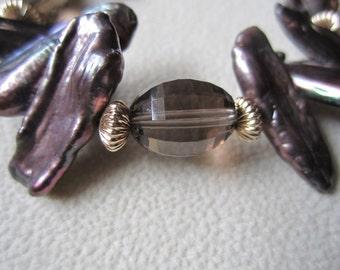 Smoky Quartz and Pearl Bracelet