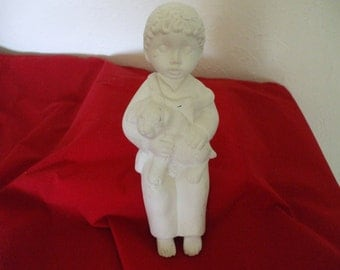 Plaster Boy Holding  Puppy  - Shelf Sitting - Figurine - Statue  - Ready to Paint - Gifts - #783