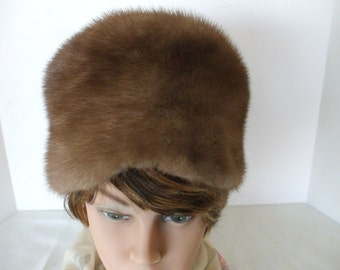 """Vintage Fur Hat, Mink - Pillbox Style - 60""""s, - Light Brown - Lined - Gifts - #837"""