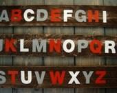 Alphabet Sign Set in Reclaimed Wood - Rustic Children's Room Artwork - Handpainted Original Nursery Art - White, Gray and Scarlet ABCs