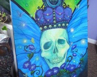 """Mourning Glory - Unseelie, Original Acrylic Painting on Stretched Canvas, Large, Dark Faerie, 24 x 18"""""""