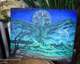 "Hurricane Sandy Original Acrylic Painting on Stretched Canvas, Storm ocean Goddess, 20 x 16"", Original Art, Ready to hang"