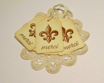 Fleur de Lis Merci Gift Tags, French Thank You Tags, Vintage French Gift Tags