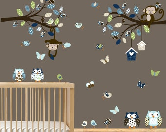 Vinyl Wall Decal  Nursery Wall Decal - Girl - Baby - Owl Branch Decal - Kids Wall Decals - Nursery Decals - monkey