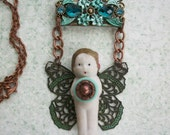 Assemblage Necklace with Frozen Charlotte, Handmade Original