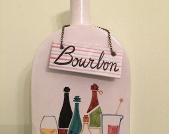 Raymor Liquor Decanter Mid Century Modern Bourbon Raymor Tag Raymor Pottery Italy Bourbon Label  at Modern Logic