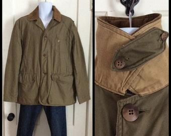 Vintage 1950s Hunting Jacket Coat Mens looks size XLarge Olive Green