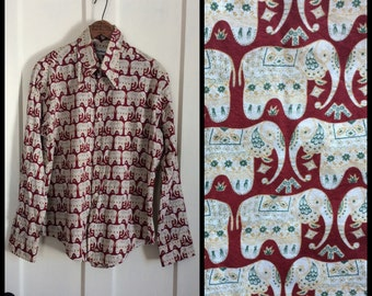 Vintage 1970's India Elephant Novelty print full pattern Mens Shirt size Large