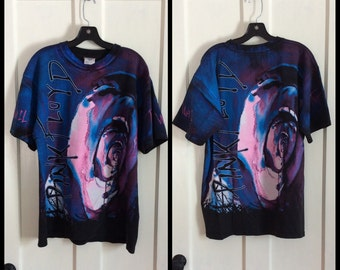 Vintage Pink Floyd the Wall Rock Band Movie Full Print T-shirt size L all cotton