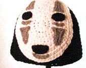 No Face Hat Spirited Away Hat Demon Hat White Mask on Black Crochet Handmade