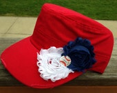 St Louis Cardinals Baseball Red Distressed Military Cadet Hat with Navy Blue & White Flowers and Rhinestone Baseball - Ladies Womens Hat