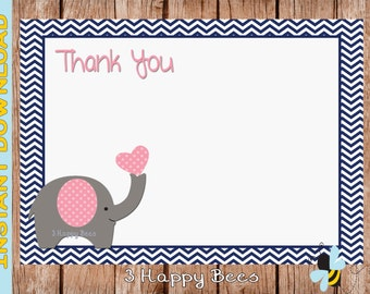 Elly the Elephant Thank you card. Instant download