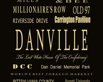 Danville Virginia   Subway Bus Tram Scroll -Your Town Typography Digital ArtPrint by Dave Lynch - Free Shipping on any additional purchase
