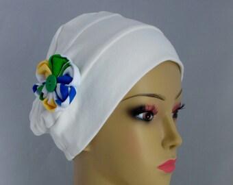 Organic White Cotton Turban 3-Seam Hair Covering, Cancer Patient Hat, Alopecia, Tichel & Mitpachat Head Wrap, Volumizer Chemo Headwear