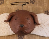 CHOCOLATE LAB Angel , OOAK, hand-sculpted from papier mache,Lab Angel, Wall Art