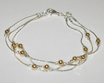 3 pieces Sterling Silver 925 Chains with 4mm Gold Filled Seamless Beads Two Tone Layered BRACELETS Lot - Made to your size - Free Shipping