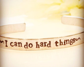I can do hard things personalized hand stamped bracelet-inspirational bracelet-