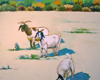 We Three- Oil Painting- 36x36 Original on Canvas- Animal Painting, Landscape Painting, Goats