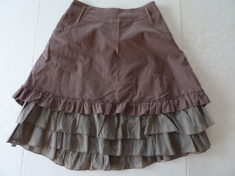vintage ruffled western hi low skirt rockabilly chic