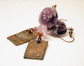 Amyethyst Earrings, Copper Earrings, February Birthstone Jewelry, Hand Hammered Copper Jewelry, Steampunk Earrings, Steampunk Jewelry OOAK