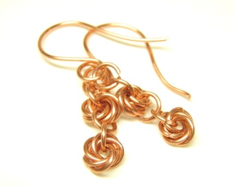 Copper Chain Mail Earrings, Copper Chain Mail Jewelry, 2 Wedding Knot, Infinity, Love Knot, Chain Maille Earrings, Chain Maille Jewelry OOAK