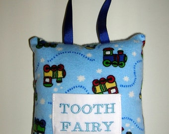 CLEARANCE SALE, Tooth Fairy Pillow, Trains, Embroidered, Ready to Ship