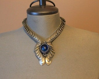 Scale mail Necklace with Scarab style glass pendant center