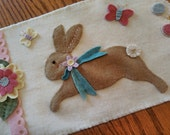 Easter Bunny Hop Spring Wool Penny Rug Table Runner