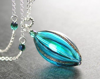 Teal Necklace Sterling Silver Green Blue Pendant Necklace Hand Blown Murano Teal Glass Necklace Teal Pendant Green Blue Necklace