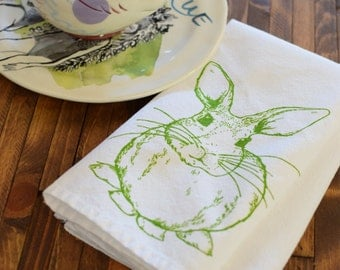 Cloth Napkins - Screen Printed Cloth Napkins - Eco Friendly Dinner Napkins - Reusable Cloth Napkins - Bunny Rabbit Napkins - Cotton Napkins